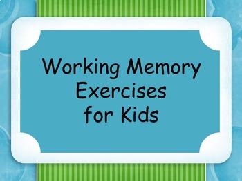 Working Memory Activities for Kids - Set 1