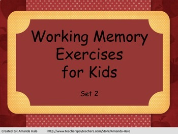 Working Memory Activies for Kids - Set 2