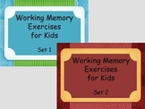 Working Memory Activities for Kids - Sets 1 & 2