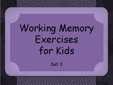 Working Memory Activities for Kids - Sets 3