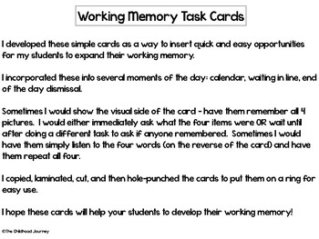 Working Memory Auditory & Visual Task Cards