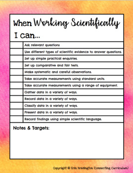 Working Scientifically I can Statements for Years 3 & 4 UPDATED