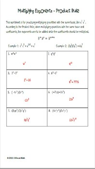 Working With Exponents Bundle