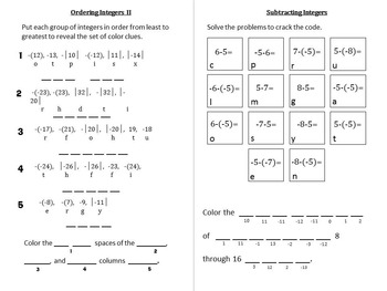 Working With Integers {homework pack & hidden picture}