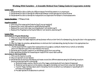 Working With Variables - Notes Guide, Graphic Organizer &