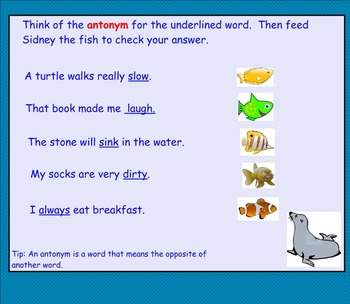 Working With Words SMART notebook for A Harbor Seal Pup Grows Up  Treasures 2.2