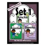Working Words Bundle Set 1:  Rhyming Words, Prepositions,