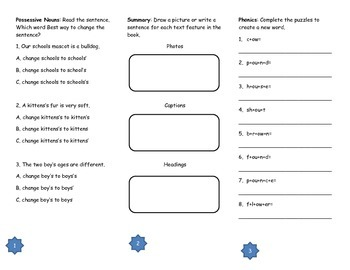 Working in Space Comprehension Tri-fold: Journeys Grade 2; Lesson 28