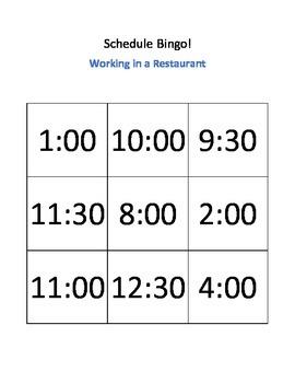 Working in a Restaurant Schedule Bingo