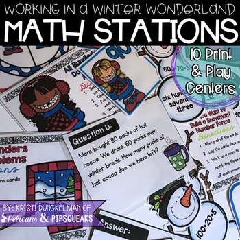 Working in a Winter Wonderland Print & Play Math Stations