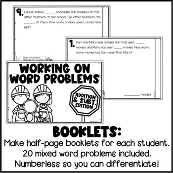 Addition & Subtraction Word Problems - Differentiated Booklet