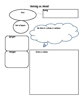 Working on Words! Vocabulary Graphic Organizer