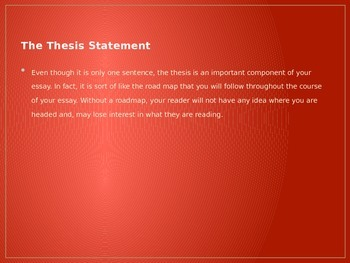 Working on a Thesis Statement