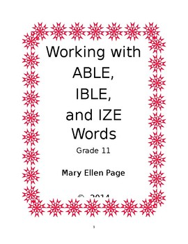 Working with ABLE, IBLE, and IZE Words