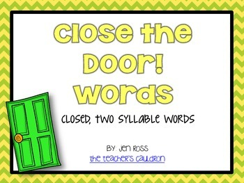 Working with Closed Two Syllables Words: Close... by Jen Ross ...