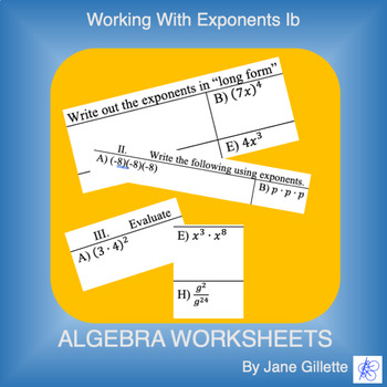 Working with Exponents Ib