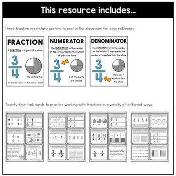 Working with Fractions: Level Two Task Cards | Fraction Practice