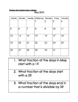 Working with Fractions Using a Calendar