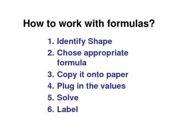 Working with Geometry Formulas / State Exam  Common Core 7.G.B.6  8.G.C.9