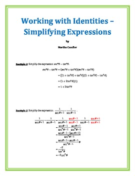 Working with Identities - Simplifying Expressions (B-6)