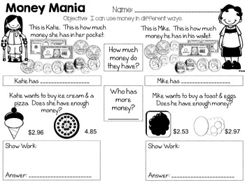 Working with Money - Story Mats