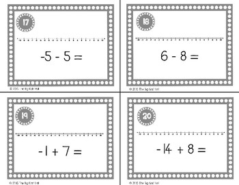 Working with Negative Numbers Task Cards