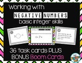 Working with Negative Numbers Task Cards with BONUS Boom Cards