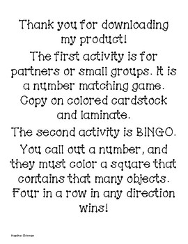 Working with Numbers 1-5 Games