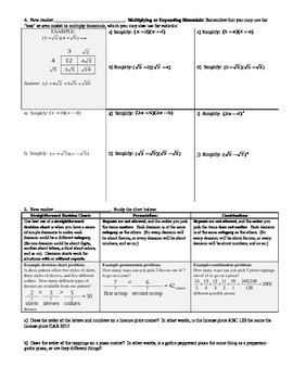 Working with Radical Expressions Part 2 Spring 2014 (Editable)
