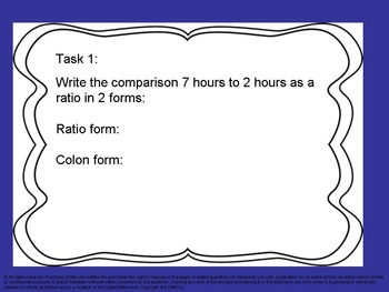 Working with Ratio & Proportion Task Cards.