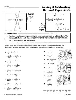 Working with Rational Expressions (CCSS HSA-APR.D.7)