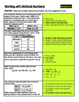 Working with Rational Numbers (comparing/ordering percents, fractions, decimals)