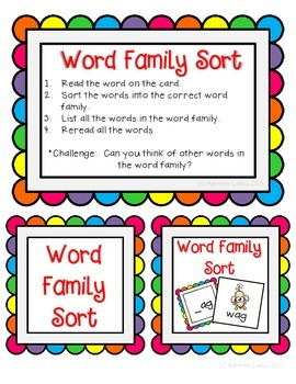 Working with Short u Word Families CVC center activities assessment sheets