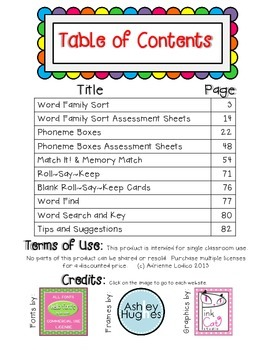 Working with Short u Word Families CVC center activities assessment sheets