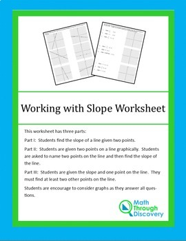 8th Grade:  Working with Slope Worksheet