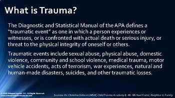 Working with Students of Trauma: Presentation for Staff