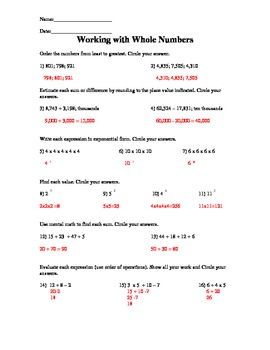 Working with Whole Numbers