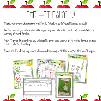 Working with Word Families: -et word family #endoftermdollardeals