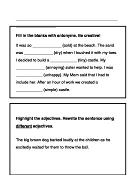 Working with Words: Adjectives, Synonyms and Antonyms