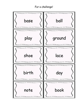 Working with Words Literacy Center- Making Compound Words