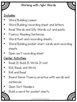Word Work Phonics igh