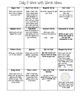 Working with Words Student Menus