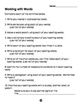 Working with Words Study Packet