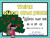 Working with final /k/: ck or k words
