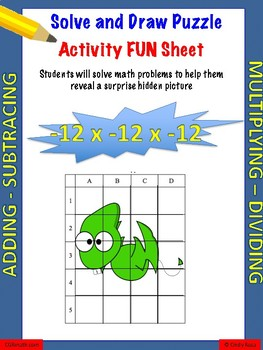 Working with integers fun puzzle activity worksheet