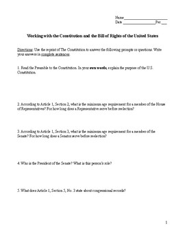 Working with the Constitution and the Bill of Rights of the United States
