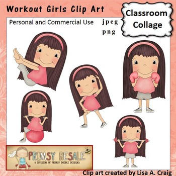Workout Girls Clip Art Color  personal & commercial use