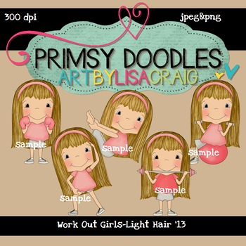 Workout Girls-Light Hair 300 dpi Clipart