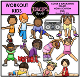 Workout Kids Clip Art Bundle {Educlips Clipart}
