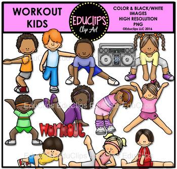 Workout Kids Clip Art Bundle {Educlips Clipart}